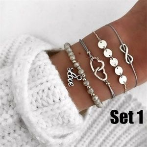 NWOT Set of 4 Infinity Love Charm Bracelets Gift